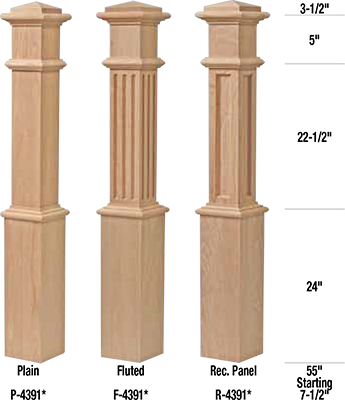 F 4391 Box Newel Fluted Craftwood Products For