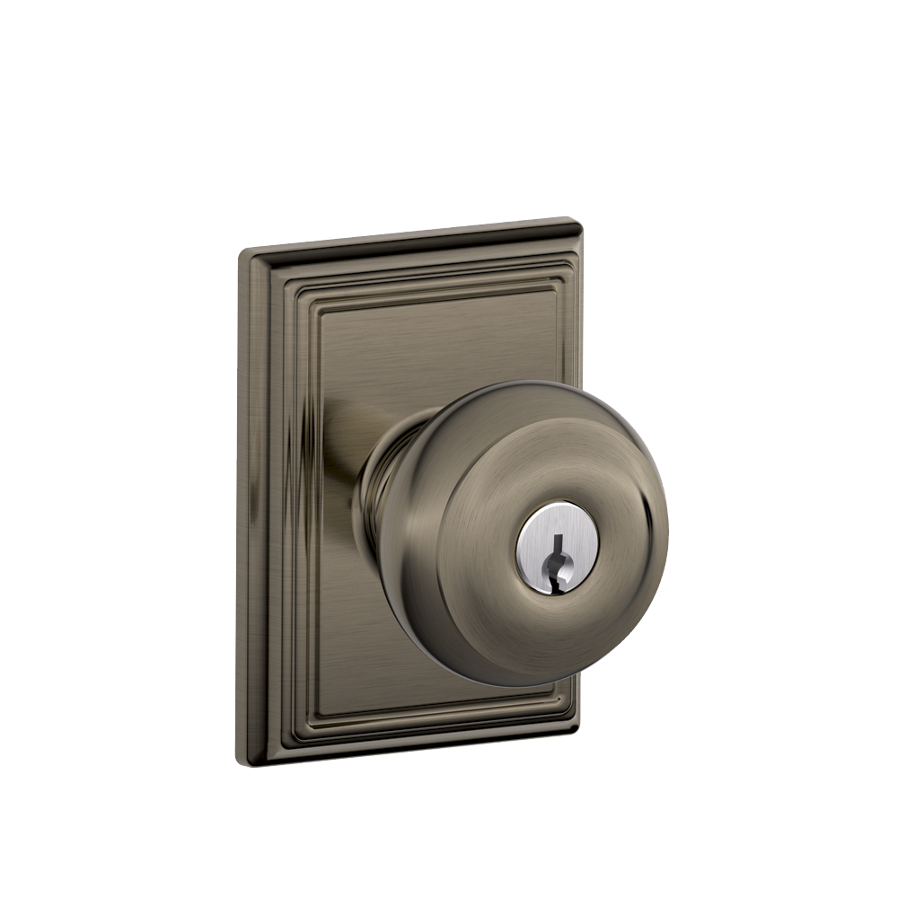 Georgian Knob With Addison Trim Keyed Entry Lock